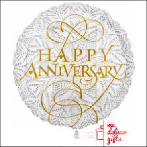 Happy Anniversary White and Gold Foil