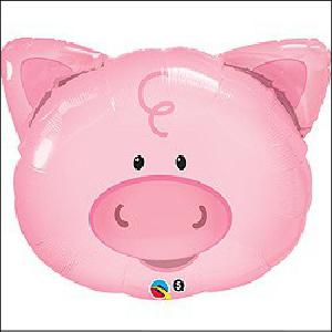 Playful Pig Head Foil Supershape