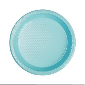 Premium L Blue Round Snack Plates Pk20