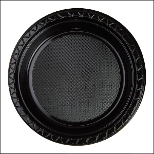 Premium Black Plastic Dinner Plates Pk 2
