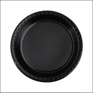 Premium Black Round Snack Plates Pk 20