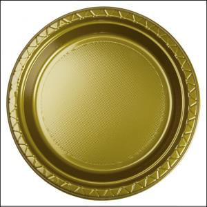 Premium Gold Plastic Dinner Plates Pk 25