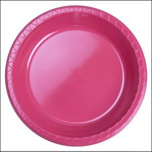 Premium Hot Pink Plastic Dinner Plates P