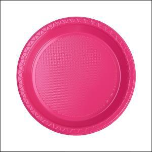 Premium Hot Pink Round Snack Plates Pk25