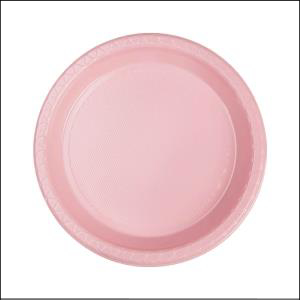 Premium L Pink Round Snack Plates Pk25
