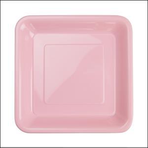 Premium L Pink Square Snack Plates Pk20