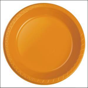 Premium Orange Plastic Dinner Plates Pk