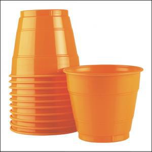 Premium Orange Plastic Cups Pk 25
