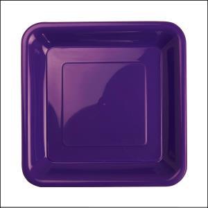 Premium Purple Square Snack Plates Pk20