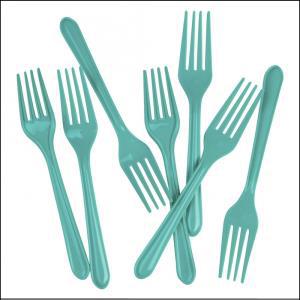 Premium Turquoise Plastic Forks Pk25