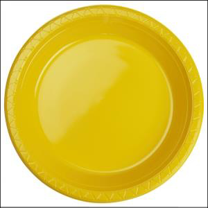 Premium Yellow Plastic Dinner Plates Pk