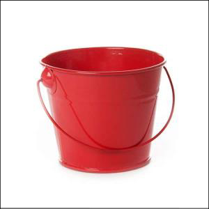 Tin Bucket with Handle Red
