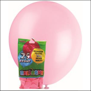 Latex Balloons Petal Pink 25cm Pk 25