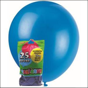 Latex Balloons Royal Blue 25cm Pk 25