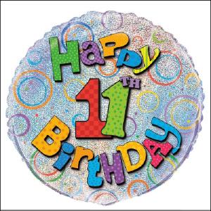 Happy 11th Birthday Prismatic Foil Ballo