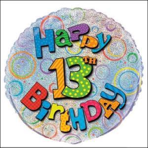 Happy 13th Birthday Prismatic Foil Ballo