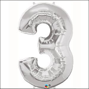 Number 3 Silver Supershape 86cm
