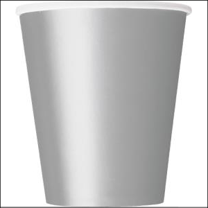 Silver Paper Party Cups Pk 8
