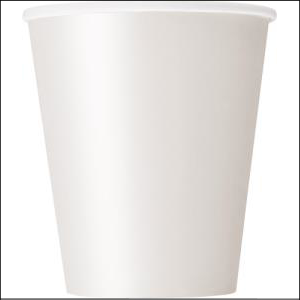 White Paper Party Cups Pk 8