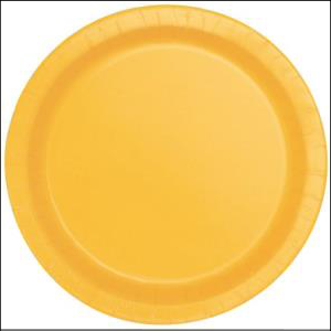 Yellow Paper Dinner Plates Pk 8
