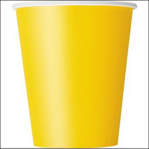 Yellow Paper Party Cups Pk 8