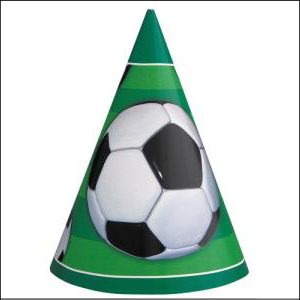 3D Soccer Party Hats Pk 8