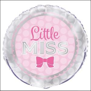 Little Miss Pink Bow Foil Balloon 45cm