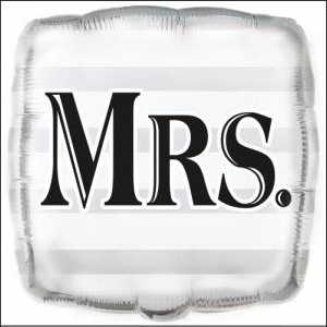 Silver Mrs Foil Balloon 45cm