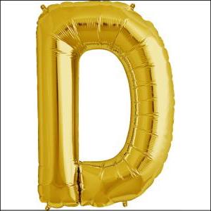 Foil Balloon 35cm Gold D