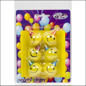 Smiley Face Candle Set Pk6