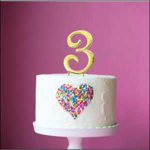 Cake Topper Gold No 3 7cm