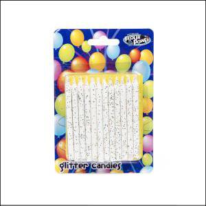 White Glitter Candles Pk24