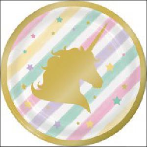 Golden Unicorn Party Lunch Plates Pk 8