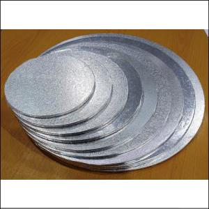 """Cake Board Masonite Round Silver 15"""""""