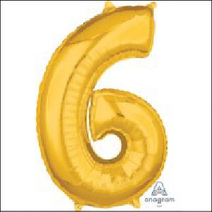 Number 6 Gold Mid Size Shape 66cm