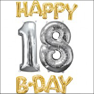 Happy Bday 18 Bunch Gold and Silver