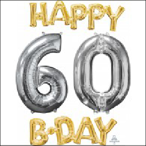 Happy Bday 60 Bunch Gold and Silver