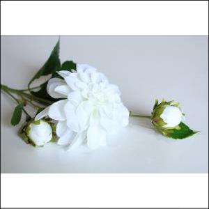 Dahlia Spray w/ Bud White 65cm