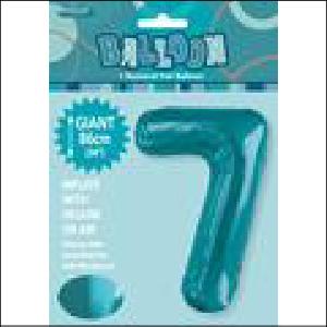 Number 7 Teal Supershape 86cm