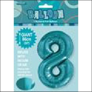 Number 8 Teal Supershape 86cm