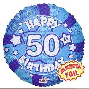 Blue 50th Holographic 45cm Foil Balloon