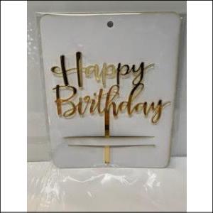 Gold Happy Birthday Acrylic Topper