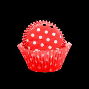 Red/White Polka Dot Large Patty Pan Pk 5