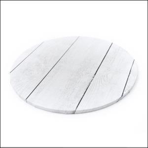 "Cake Board White Planks Round 10"""