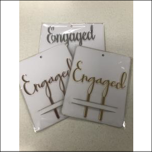Ukit Bamboo Cake Topper Engaged