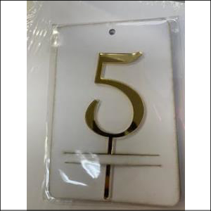 Gold Number 5 Acrylic Topper