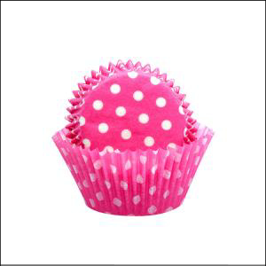 Hot Pink/Polka Dot Large Patty Pans Pk 5