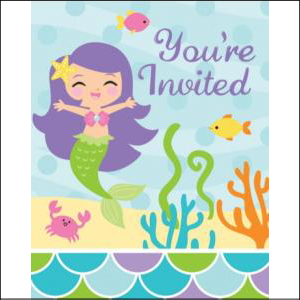 Mermaid And Friends Invitations PK8