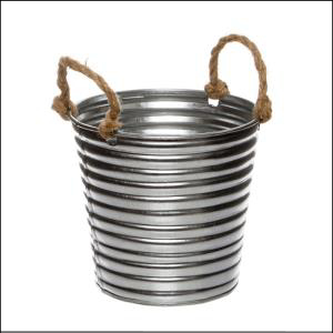 Rustic Metal Tin Bucket Rope Handles