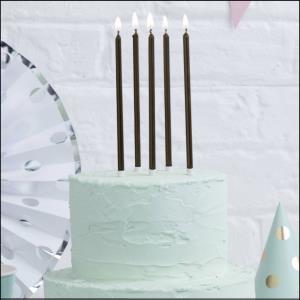 Tall Black Cake Candle 12Pk